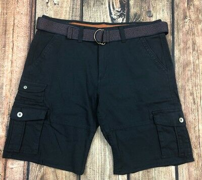 Weatherproof Vintage Navy Blue Cargo Shorts With Belt Mens Size 34 ()