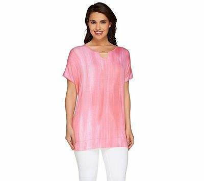 Lisa Rinna Collection Fashionable Printed Top Neckline Pink Pxs New A265275