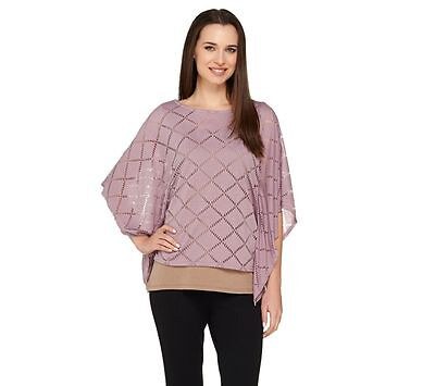 Lisa Rinna Collection Knit Cute Caftan Top Laser Cut Lilac Taupe L New A263127