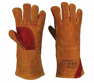 Portwest Welders Gauntlet Wealding Leather Gloves Burn Protection ANSI A530 - Leather Welders Gauntlets