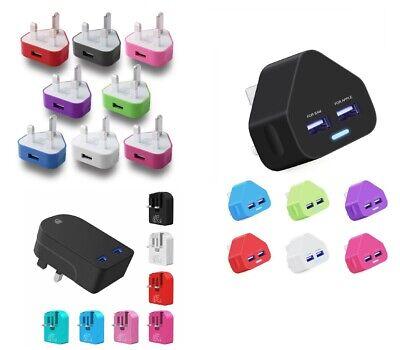 2 Port Wall (Universal Fast Dual Folding 2 Port USB Charger 3 Pin UK Mains Wall Plug Adapter)