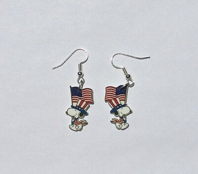 Snoopy Earrings USA Flag Charms Fourth of July Freedom