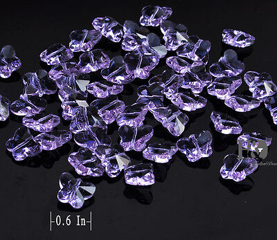 50PCS Purple Butterfly Glass Crystal Charms Spacer Loose Bead Jewelry Making DIY