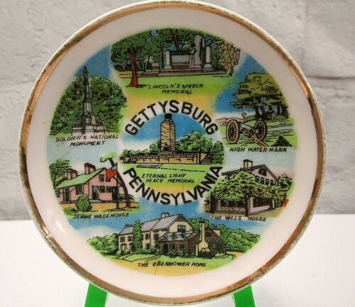 "Vintage Gettysburg PA Souvenir Mini Plate Historic Locations Civil War 4"" travel"