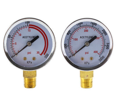 Low And High Pressure Gauges For Acetylene Regulator - 2 Inches Pair