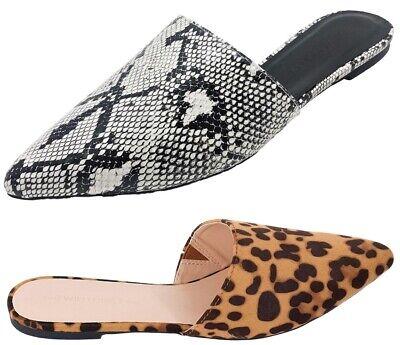 Women Pointed Toe Slip On Kitten Low Heel Mules Flats Pumps Slides Celica-01