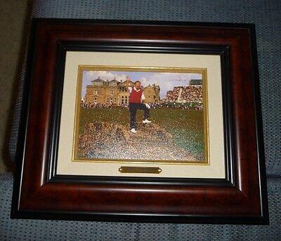 "Jack Nicklaus Painting Framed 16x20"" at St. Andrews British Open On Bridge Pose"