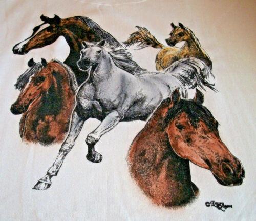 "Horses Galore T-shirt  "" Natural "" LG ( 42 ~ 44 )"