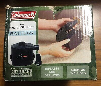 Coleman 4D Quick Pump portable air pump battery operated inflate / deflate useD