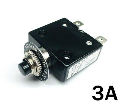 New 3 Amp Push Button Thermal Circuit Breaker 12-50v Dc 125-250v Volt Ac 3a