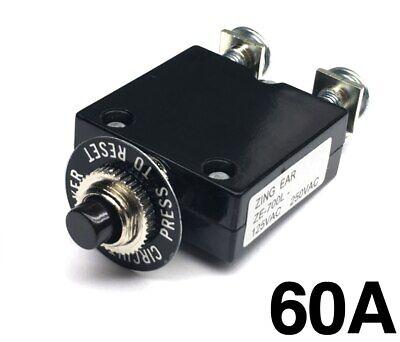 New 60 Amp Push Button Thermal Circuit Breaker 12-50v Dc 125-250v Volt Ac 60a