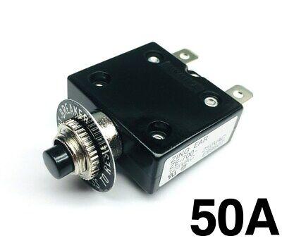 New 50 Amp Push Button Thermal Circuit Breaker 12-50v Dc 125-250v Volt Ac 50a