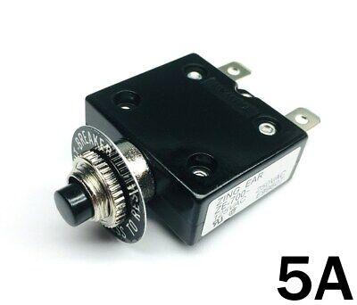New 5 Amp Push Button Thermal Circuit Breaker 12-50v Dc 125-250v Volt Ac 5a