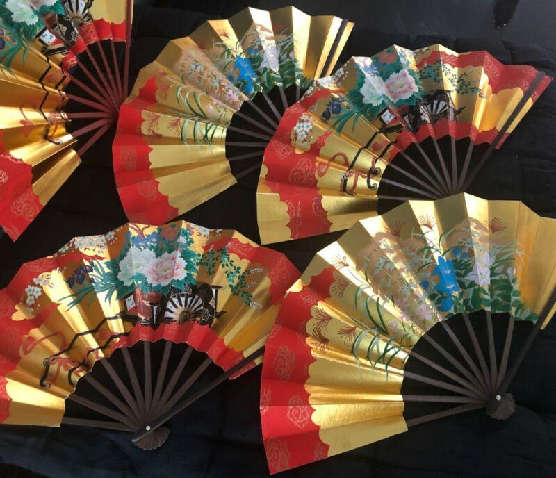 VINTAGE JAPANESE MAIOUGI SENSU FOLDING FAN*GOLD LEAF FLOWER CART*DISPLAY*EXC CO