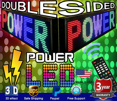Mixed Color Double-sided Led Sign 15 X 41 Programmable Scrolling Message Board