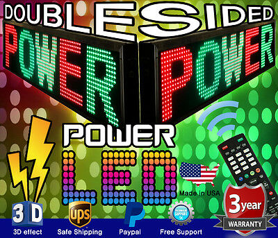 3 Color Double-sided Led Sign 15 X 41 Rgy Programmable Scrolling Message Board