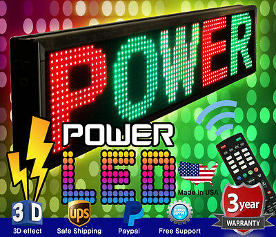 Three Color Led Sign 15 X 41 Rgy Programmable Scrolling Message Board Usa