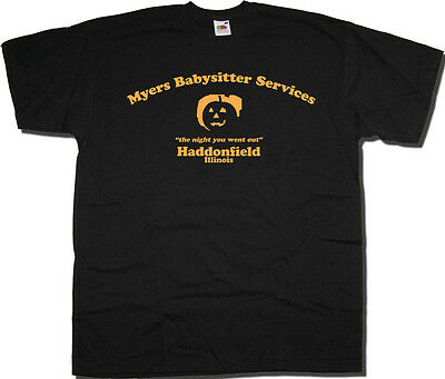 Halloween T Shirt - Myers Babysitting Services Haddonfield Friday 13th Cult Film ()