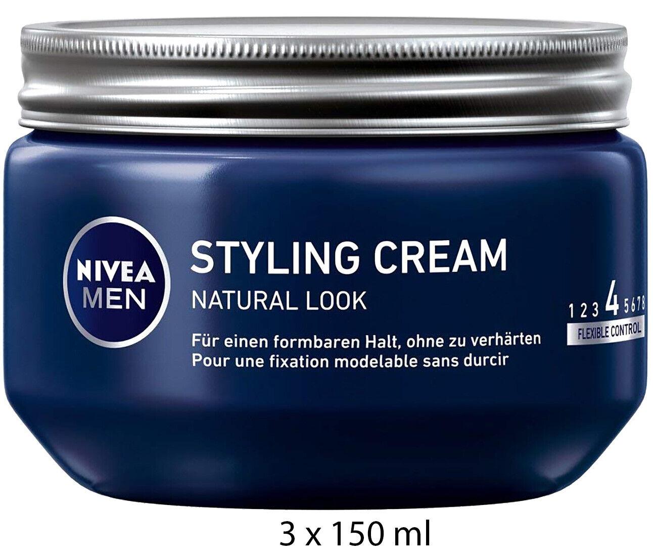 NIVEA MEN Styling Cream Haarcreme Haargel für einen Natural Look, 3 x 150ml