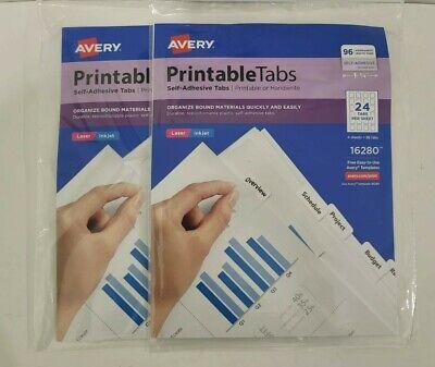 Avery Printable Tabs 1-14 96 Tabs Self-adhesive Tabs Lot Of 2
