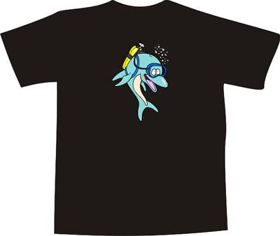 T-Shirt E1274 - Delfin mit Taucherbrille & Sauerstoff Flasche im Meer