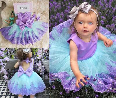 Kid Baby Girls Bow Tulle Princess Formal Violet Lavender Print Bridesmaid - Lavender Girls Dress
