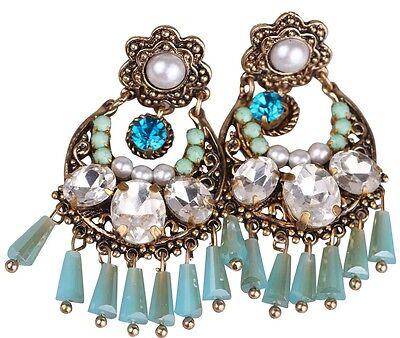 1 Pair Fashion Jewelry White Crystal Rhinestone Ear Drop Dangle Stud Earrings 12