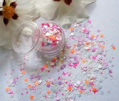 Nail Art Chunky *NeoN* White Pink Hex Flower Glitter Spangles Mix Pot Decoration