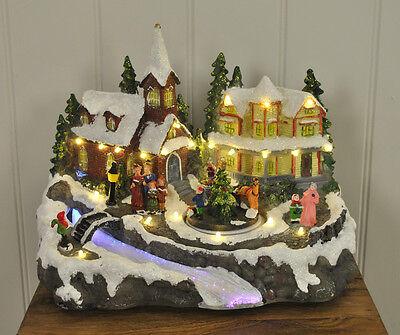 Christmas / Xmas Village Scene Decoration with Sound & Fibre Optic LEDs