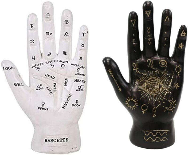 Psychic Fortune Teller Palmistry Hand Palm With Lines Symbols Figurines Set of 2
