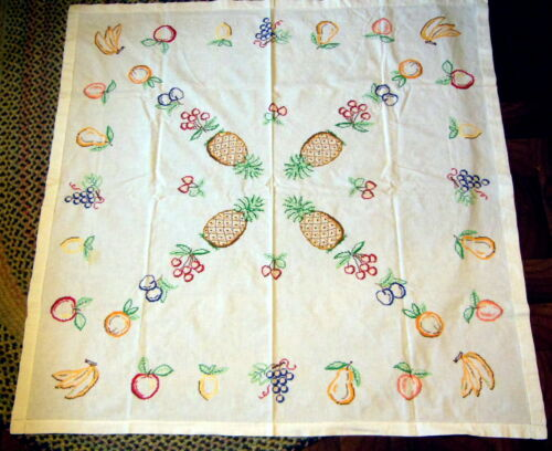 "Vintage   Tablecloth Cross Stitch fruit  50""x 50"""