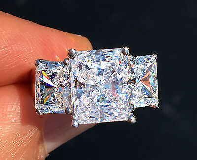 7 ct Radiant Cut Ring Top Russian Quality CZ Sterling Silver 6