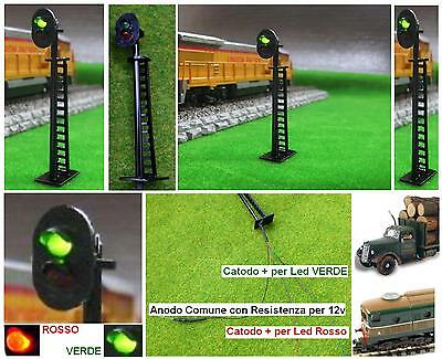 SEMAFORO SIGNAL per BINARI mm.60 12V a 2 COLORI LED VERDE e ROSSO SCALA-N e HO