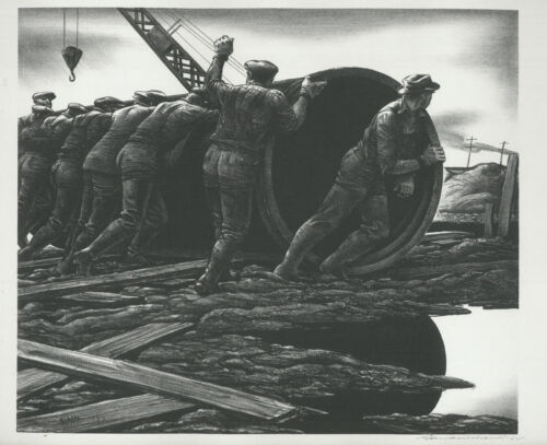 Great depiction of working America, original pencil signed lithograph by Wilson