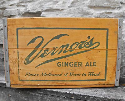 vintage Vernors soda pop wood crate box ginger ale Grayling Michigan 1957 clean+