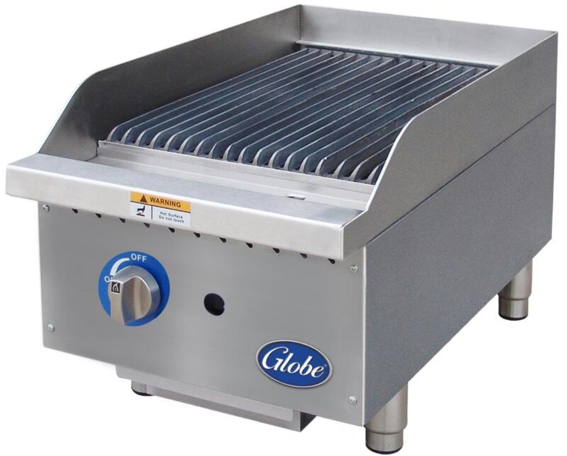 """Globe Gcb15g-rk 15"""" Char Rock Charbroiler Natural Gas Commercial"""