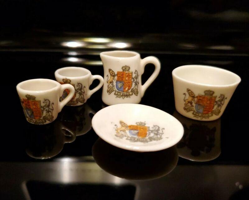 Crested China DIEU ET MON DROIT Miniature Tea Cup Plate Pitcher set dollhouse