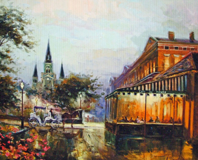 Cafe Du Monde Cathedral Buggy New Orleans Matted Art Print