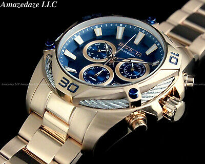 NEW INVICTA Men's 50mm BOLT SWISS Ronda Z60 Chrono Blue Dial Rose Tone SS Watch