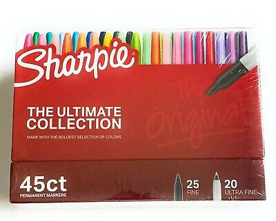 The Ultimate Collection - 45 Asst. Sharpie Fine Ultra Fine Point Perm. Markers