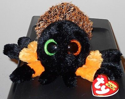 Ty Beanie Boos ~ HAIRY the Halloween Orange & Black Spider (6 Inch) NEW MWMT
