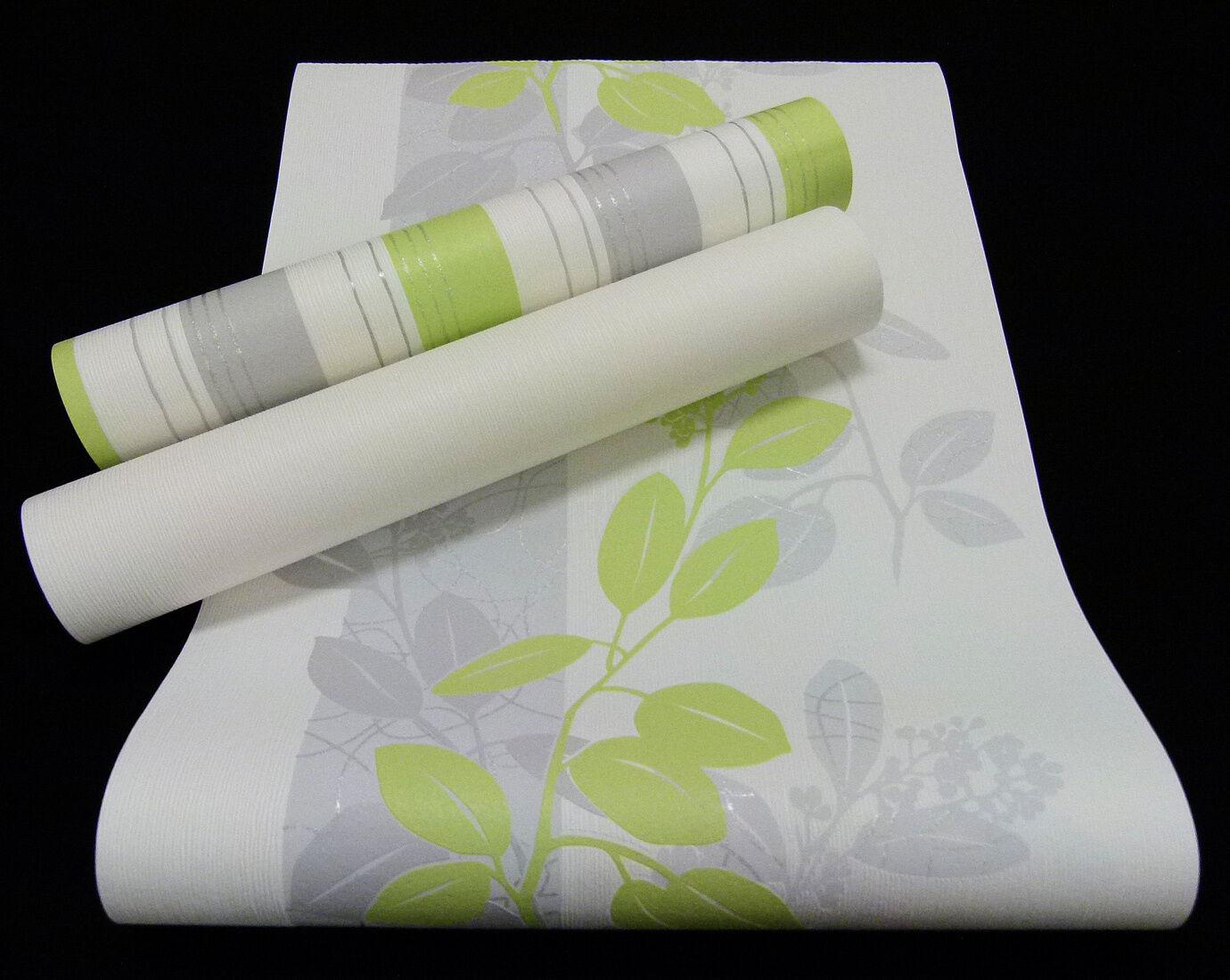 13235-) Vliestapete schickes Blätter-Design weiß grau grün - mit Glanzeffekt