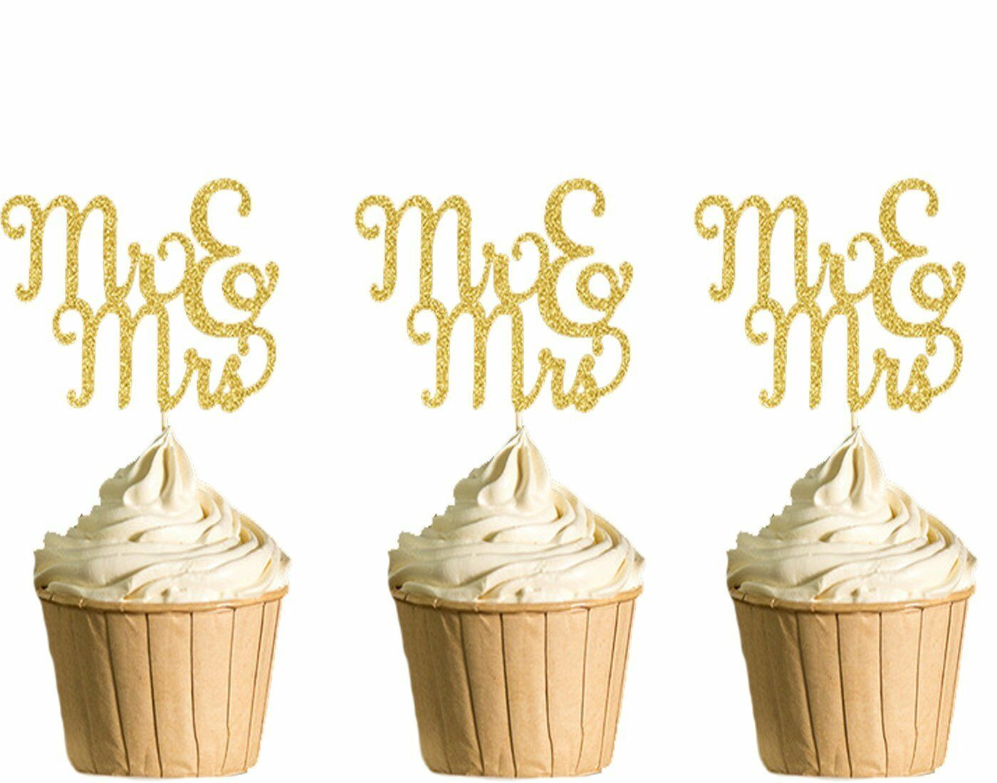Polka Dot Sky MR & MRS Cupcake Toppers, Hen Party, Birthday Gold ...