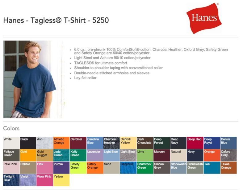 100 Hanes T-SHIRTS BLANK BULK LOT Colors or 112 White Plain S-XL Wholesale 50