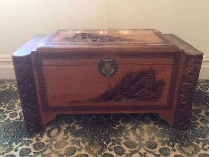 Old Camphor Chest with carving, handles and internal drawer