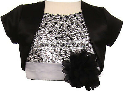 Girls Black Satin Bolero Jacket Short Sleeve Fancy For Dresses Wedding Pageant