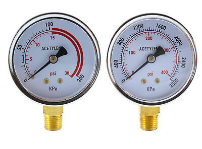 Low And High Pressure Gauges For Acetylene Regulator - 2.5 Inches Pair
