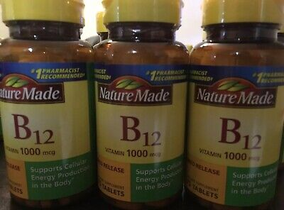 (3) Nature Made Vitamin B12 1000 mcg Timed Release 75 tablets each 2023 FRESH! ()