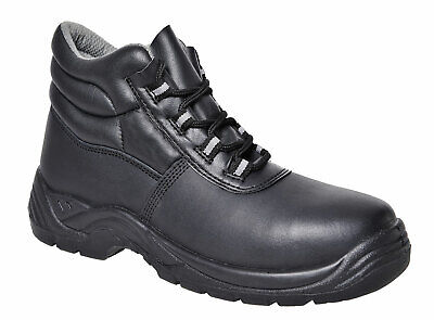 Composite Safety Toe Shoes - Safety Work Boots Shoes Composite Toe Non Metallic, Black Leather 4-14, FC21