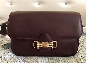6680c029de73  RARE VINTAGE CELINE PARIS BURGUNDY GOLD LEATHER BOX  SHOULDER BAG